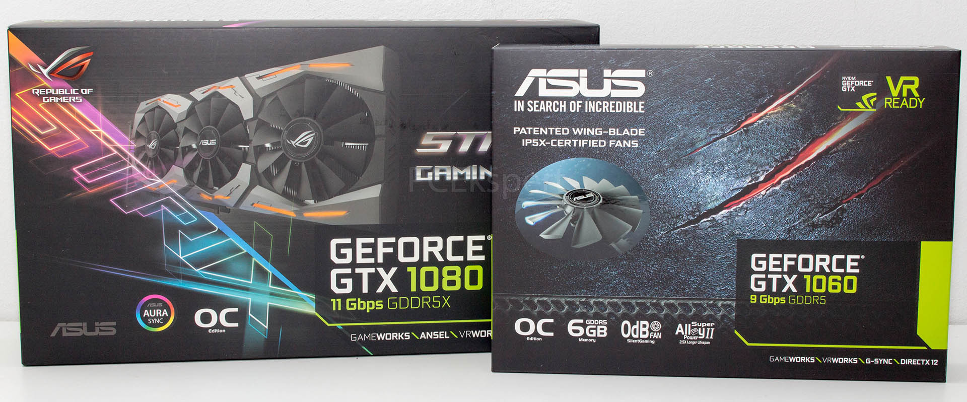 ASUS STRIX GTX1080 Gaming OC 8 GB 11 Gbps & GTX1060 6GB 9 Gbps recenzija