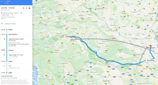 Vozni red Hrvatskih željeznica dostupan na Google Mapsu