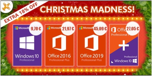 Software Christmas Madness: Windows 10 Pro 9,70 €, Office 2016 Pro 12,97€ i Office 2019 45,09€