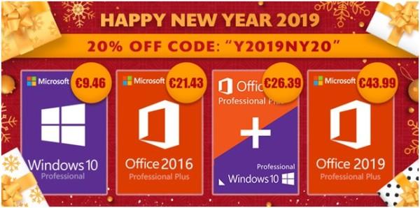 Novogodišnja promocija softvera: Windowsi 10 Pro za 9.46€ i Office 2016 pro za 21.43€