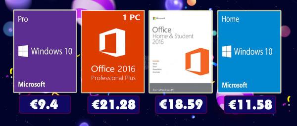 Velika rasprodaja: Windowsi Pro za 9.40 €, a Office 2016 Pro za 21.28 €