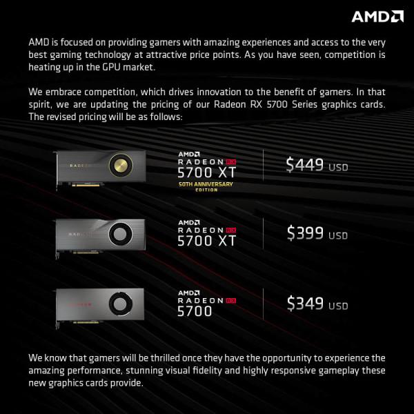 Nove, niže cijene za AMD Radoen RX 5700 i RX 5700 XT