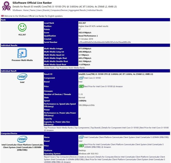 Intel Core i3-10100 – procurio benchmark