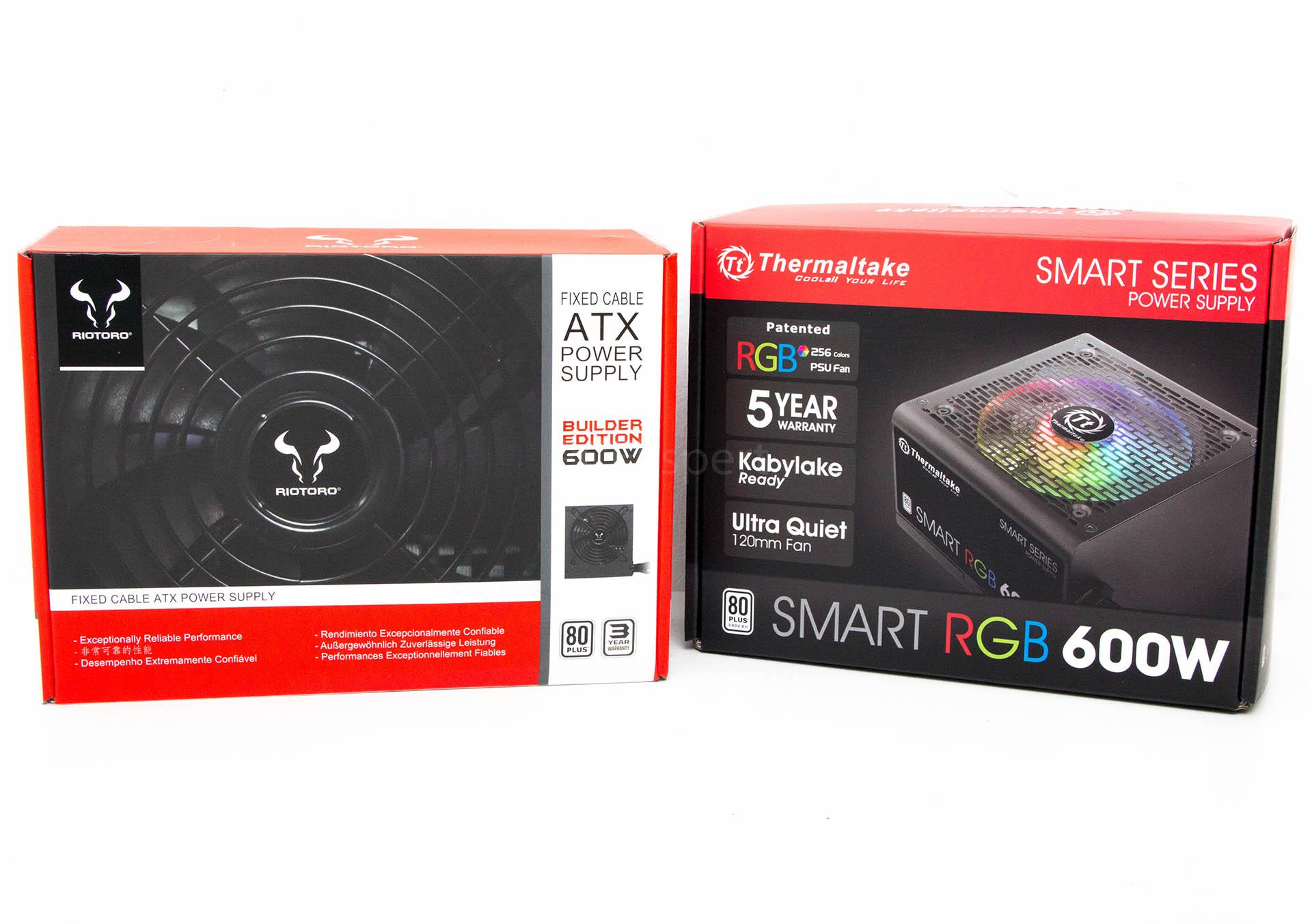 Brzi test – Riotoro Builder Edition 600W vs. Thermaltake Smart RGB 600W