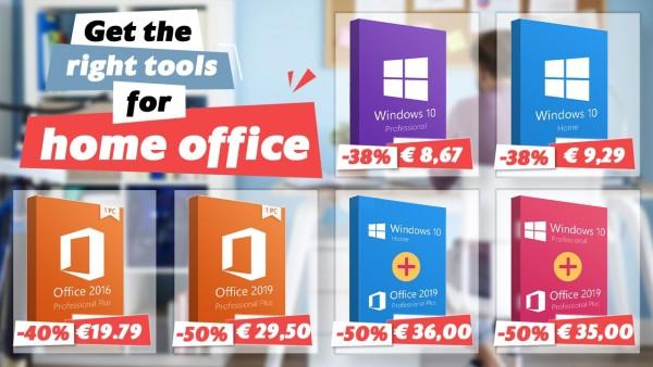 Nabavite pravi alat za kućni ured: Office 2019 za 29,50 €, Office 2016 za 19,79 € i Windows 10 za 8,67 €