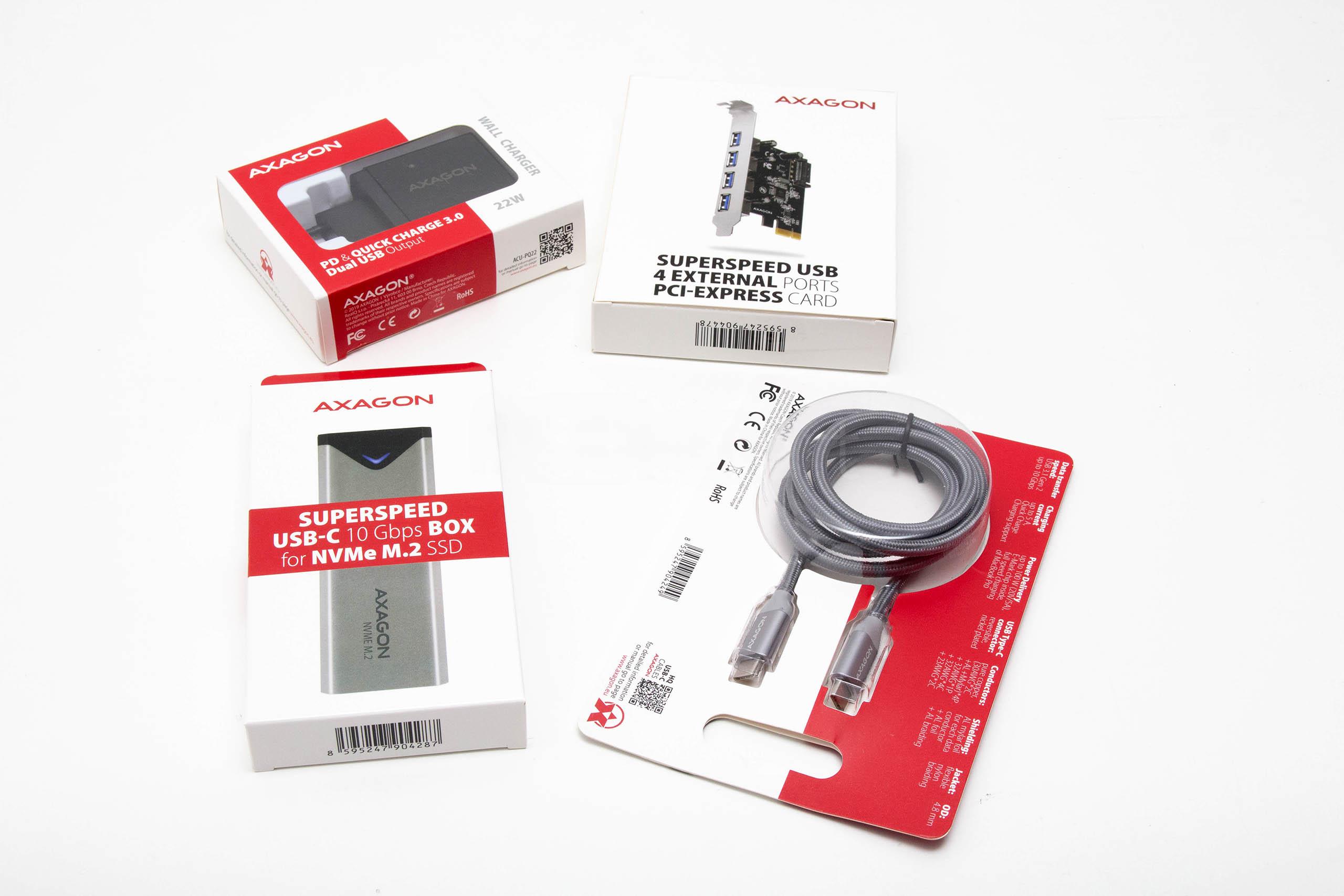 Brzi test – Axagon brzi AC/DC punjač, USB hub kartica i USB-C kućište za SSD