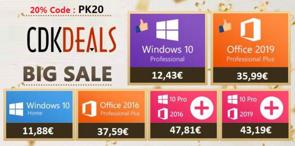 Kupite Windows 10 Pro za 12,43 €, Office 2019 za 35,99 €, ili pak oboje u paketu za samo 43,19 €
