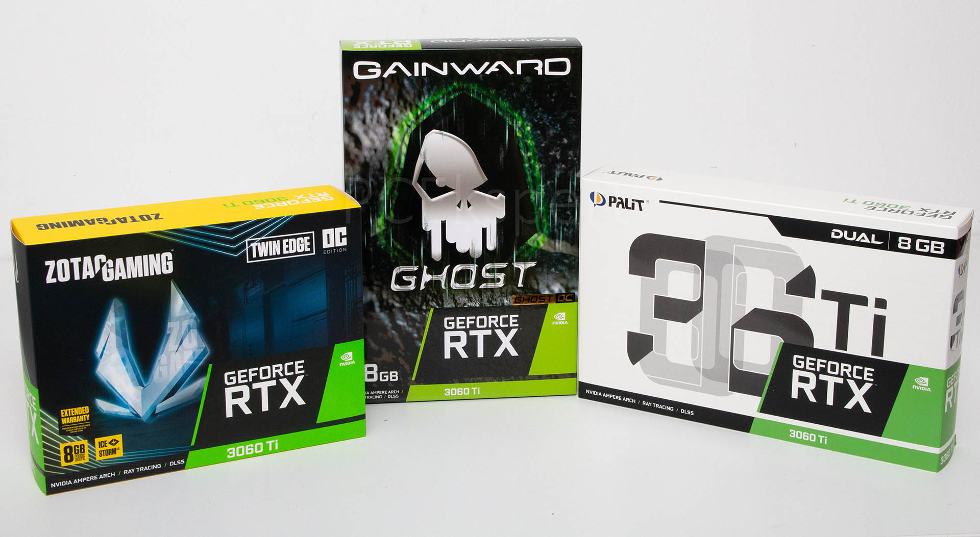 Gainward GeForce RTX 3060 Ti Ghost OC, Palit GeForce RTX 3060 Ti Dual & Zotac GeForce RTX 3060 Ti Twin Edge OC recenzija