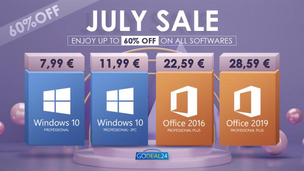 Srpanjska rasprodaja 2021 – Windows 10 Pro licenca za 7,99 € i još više toga!
